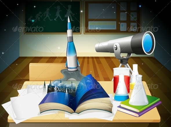 GraphicRiver Laboratory Room with a Book and Equipment 7956973