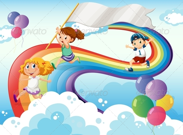 GraphicRiver Kids Playing Above a Rainbow with an Empty Banner 7956990