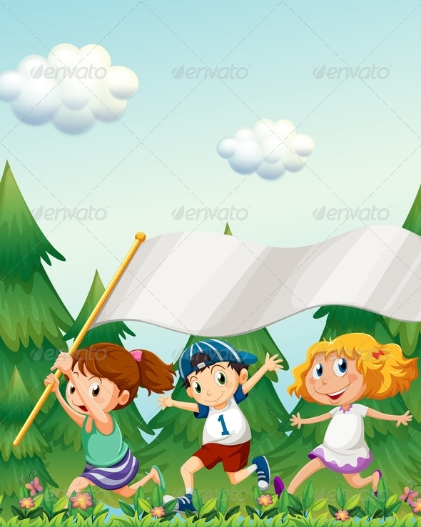 GraphicRiver Kids Running with an Empty Banner 7957003