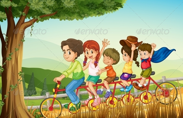 GraphicRiver Group of People Biking 7957013