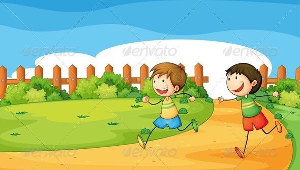 GraphicRiver Two Boys Playing Inside a Wooden Fence 7957024