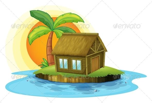 An Island with a Bamboo House