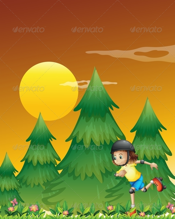 GraphicRiver Girl Rollerskating Near Pine Trees 7957043