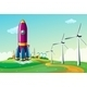 Hilltop with a Rocket Near Windmills - GraphicRiver Item for Sale