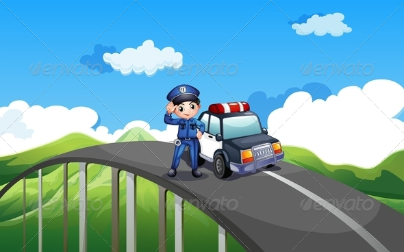 GraphicRiver Policeman and His Patrol Car on a Road 7957055