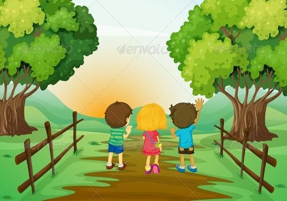 GraphicRiver Three Kids Watching the Sunset 7957062