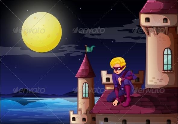 GraphicRiver Male Superhero On a Castle 7957064