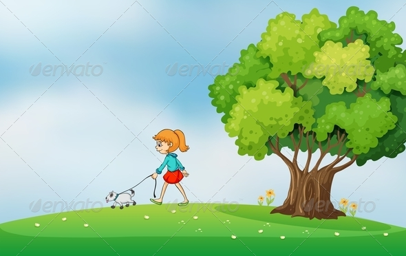 GraphicRiver Girl Walking with Her Dog on a Hilltop 7957091