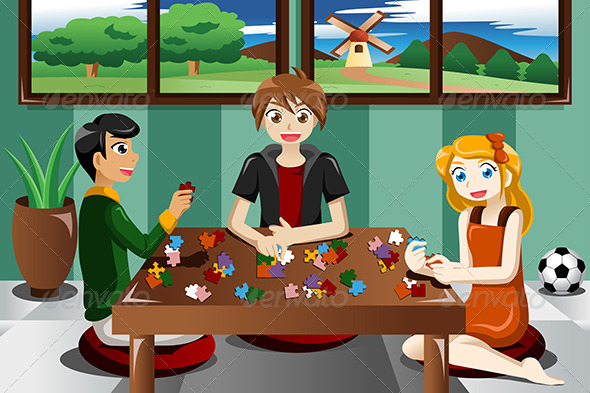 GraphicRiver Kids Playing Puzzles 7957098