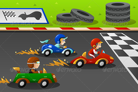 GraphicRiver Kids in a Car Racing 7957131