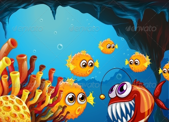 GraphicRiver Group of Puffer Fishes and a Scary Piranha 7957134