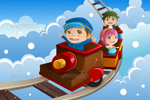 GraphicRiver Kids Riding a Train 7957135