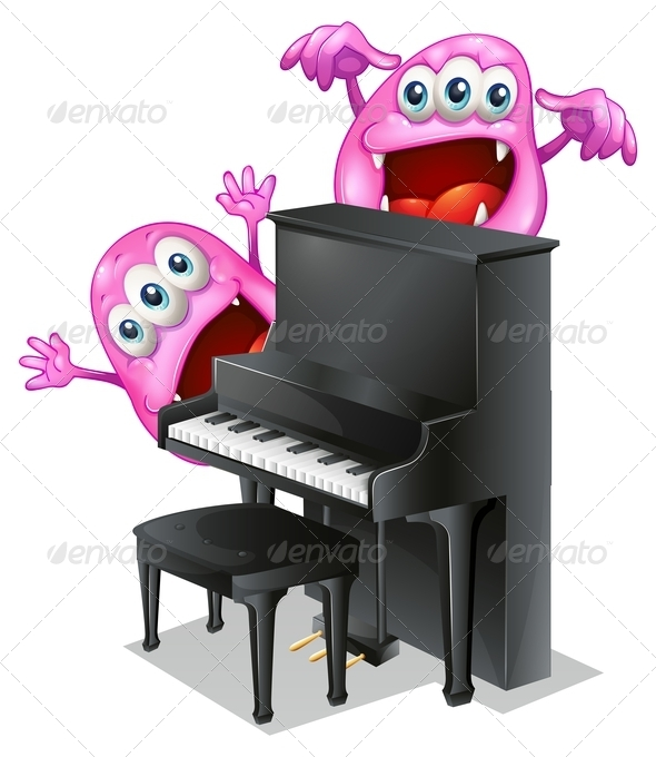 GraphicRiver Two Pink Monsters at the Back of a Piano 7957152