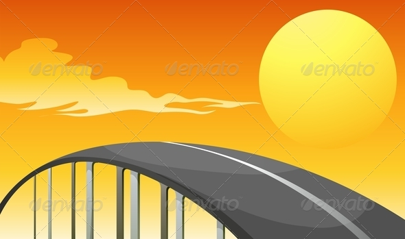 GraphicRiver Winding Road and a Sunset 7957223