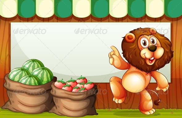 Empty Template with a Lion Selling Fruits