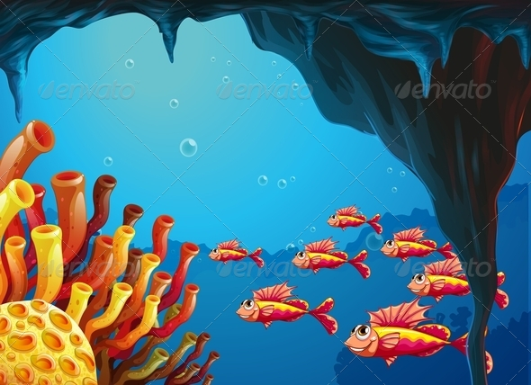 GraphicRiver School of Fishes in Coral Reef 7957444