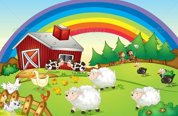 GraphicRiver Barn with Animals and Rainbow 7957459