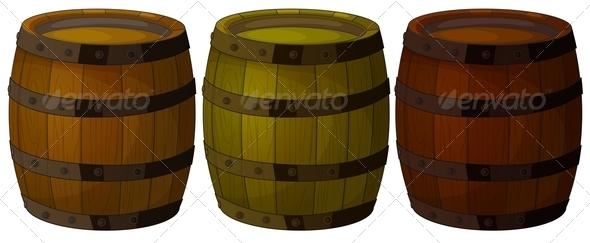 GraphicRiver Three Wooden Barrels 7957589