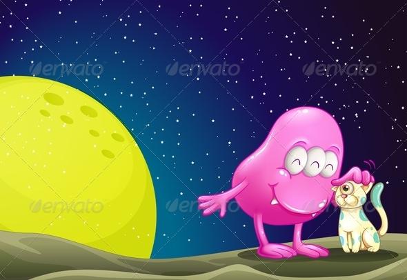 GraphicRiver Alien Patting Space Cat 7957607