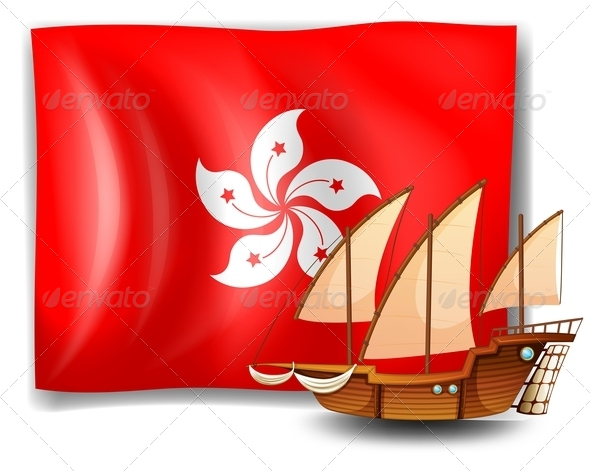 Flag of Hongkong with Ship