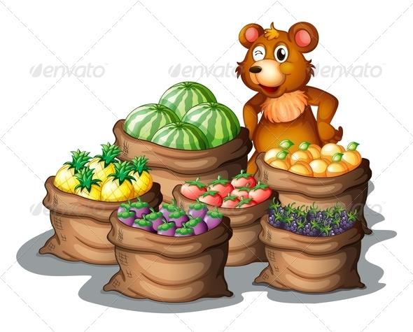 Bear with Sacks of Fruits
