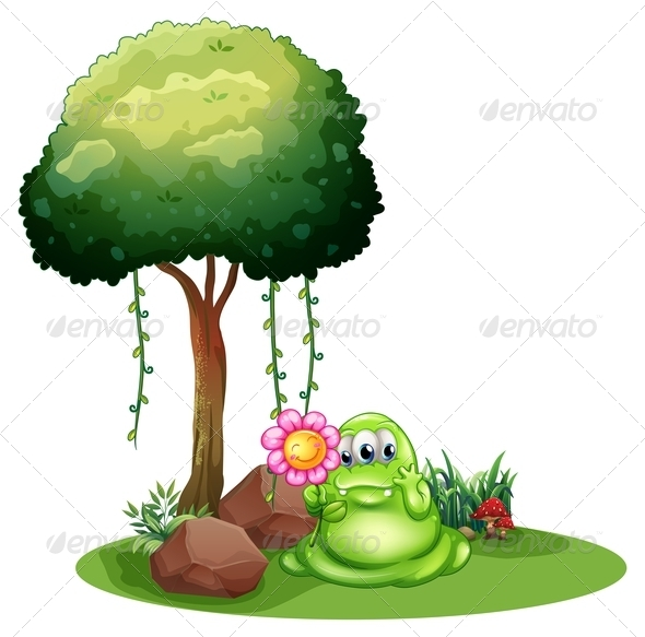GraphicRiver Monster with Flower Near the Tree 7957679
