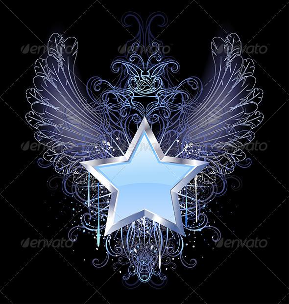 GraphicRiver Blue Star on a Dark Background 7957682