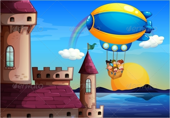 GraphicRiver Balloon with Kids Near Castle 7957688