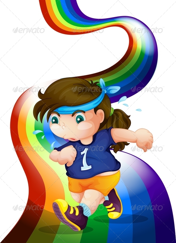 GraphicRiver Woman Jogging on Rainbow 7957820