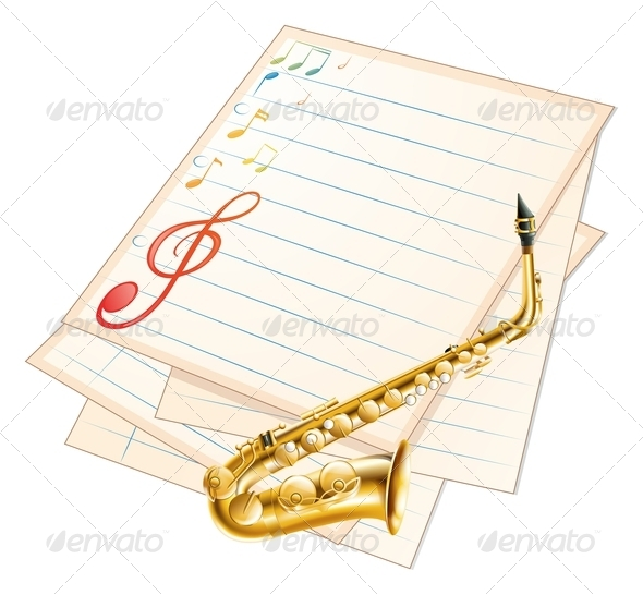 GraphicRiver Musical Paper with Saxophone 7958103