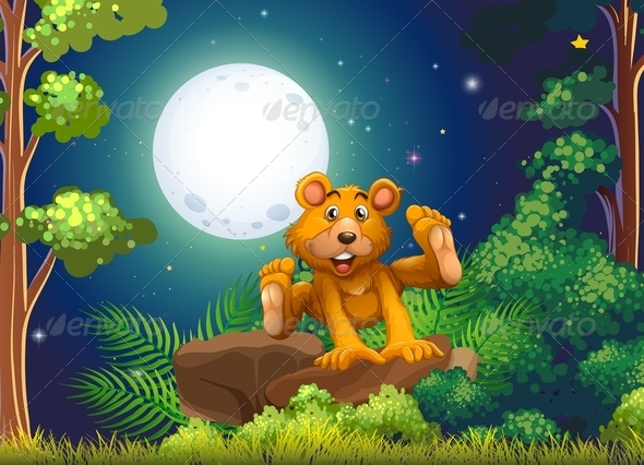 GraphicRiver Bear Jumping in Forest 7958558
