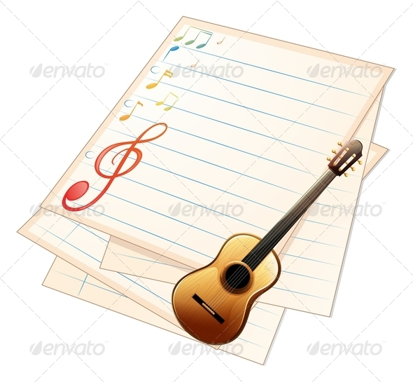 GraphicRiver Empty Music Paper with Guitar 7958663