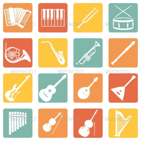 GraphicRiver Set of Musical Instruments Icons 7958704