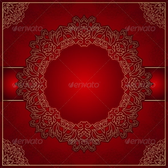 GraphicRiver Elegant Red Background with Gold Ornament 7959006