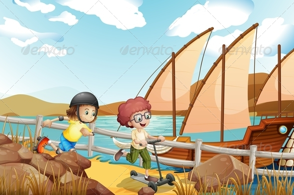 GraphicRiver Two Kids Racing near the Lake 7959211