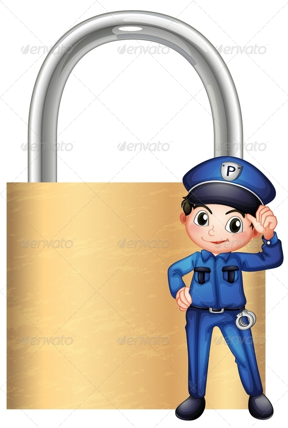 GraphicRiver Police in front of Padlock 7959212