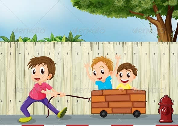 GraphicRiver Kids playing by a Wooden Fence 7959482
