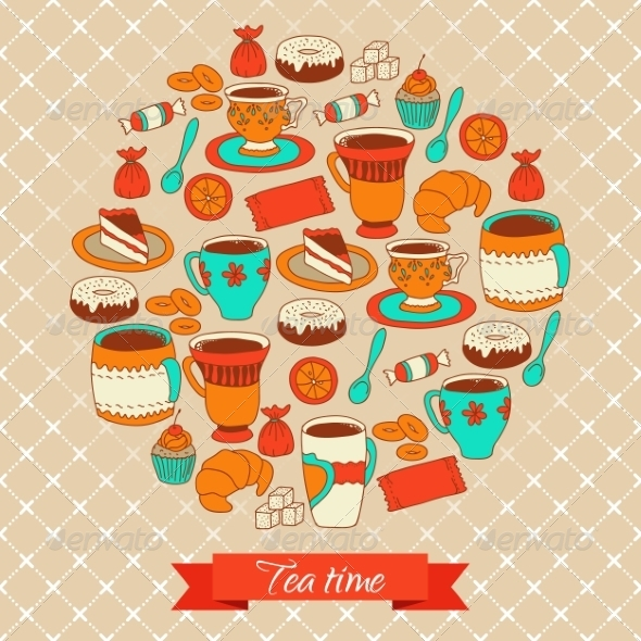 GraphicRiver Tea and Sweets Background 7959753