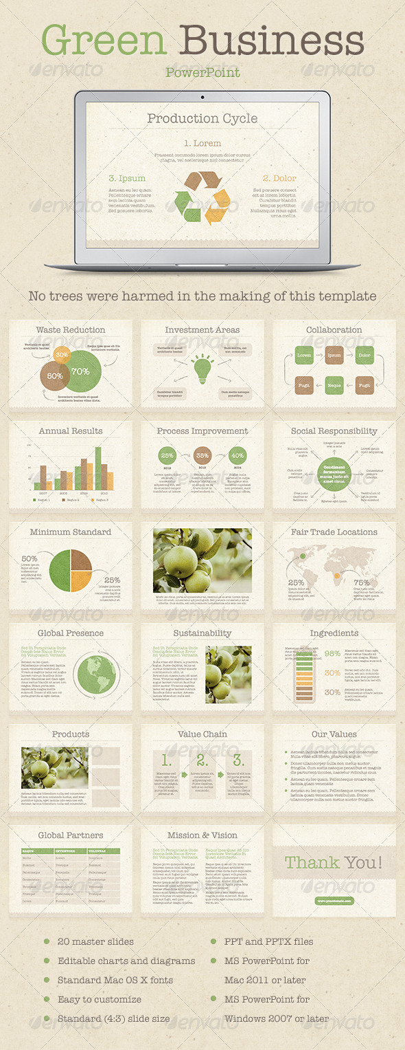 GraphicRiver Green Business PowerPoint Template 7960084