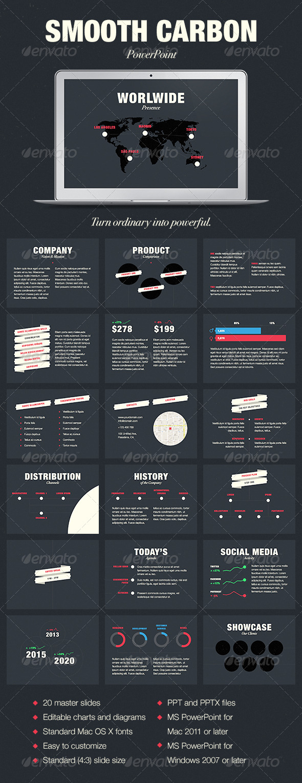 GraphicRiver Smooth Carbon PowerPoint Template 7960095