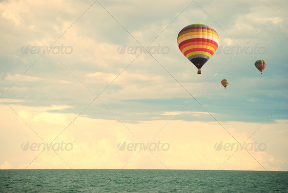 Flying balloon during sunset - Stock Photo - Images