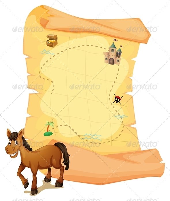 GraphicRiver Horse in front of Treasure Map 7960214