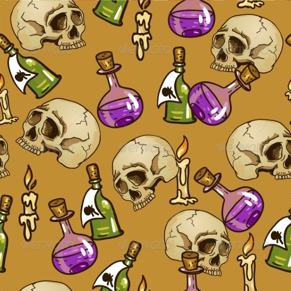 GraphicRiver Flasks and Skull Pattern 7960551