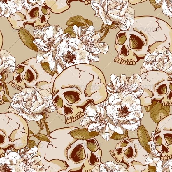 GraphicRiver Skull and Flowers Seamless Background 7960774