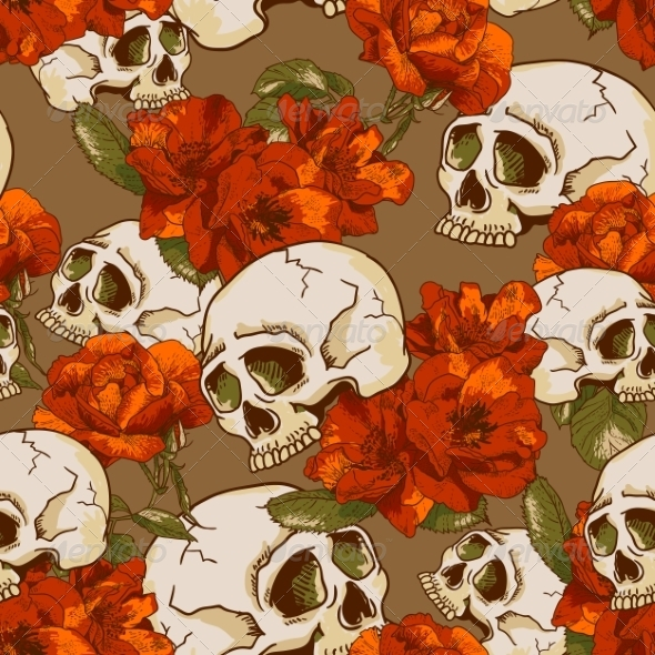 GraphicRiver Skull and Flowers Seamless Background 7960819