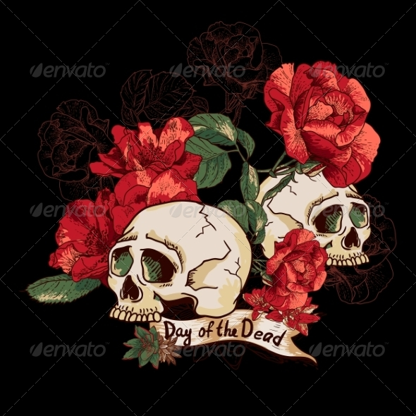 GraphicRiver Skull and Flowers Day of The Dead 7961021