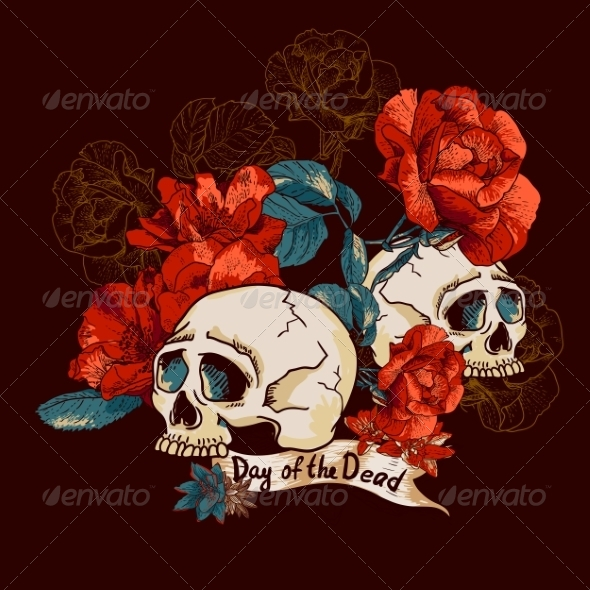 GraphicRiver Skull and Flowers Day of The Dead 7961089