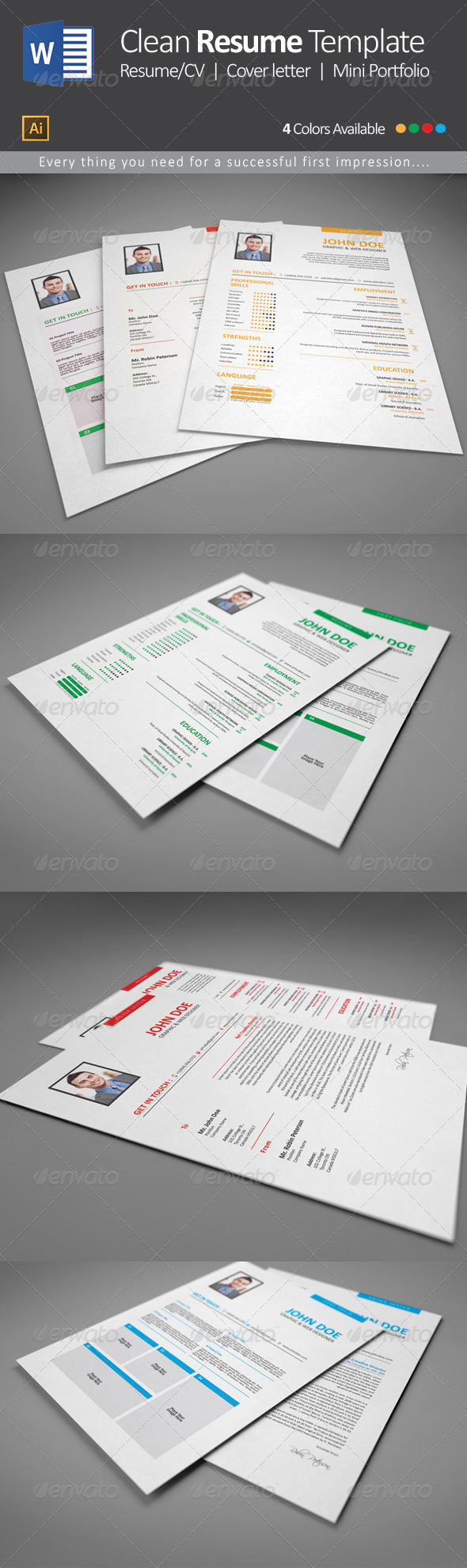 GraphicRiver Clean Resume Template 1 7961105