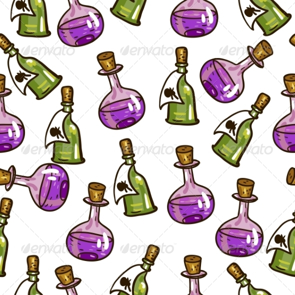 GraphicRiver Seamless Background with Chemical Flasks 7961564