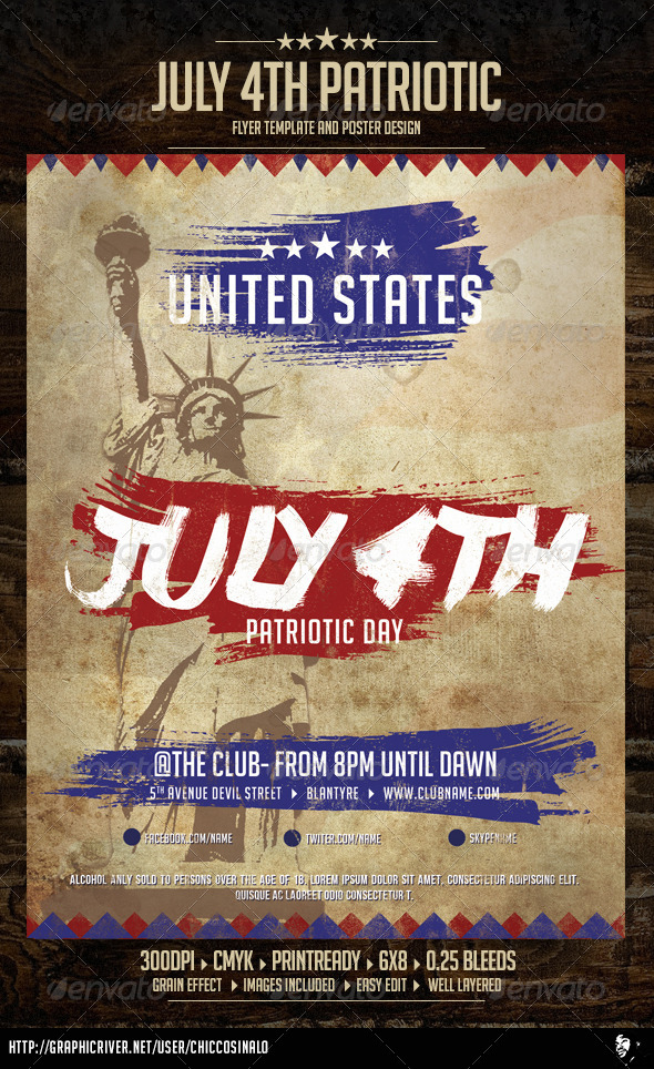 GraphicRiver July Patriotic 4th Flyer Template 7939709
